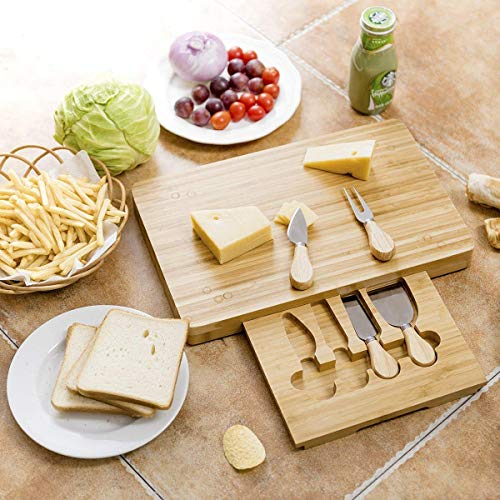 Costzon 5 PCS Bamboo Cheese Knife Set - Stainless Steel Cheese Knife, Fork, Shovel, Scimitar with Rectangular Slide Out Cutting Board