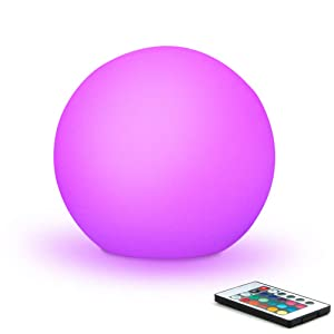 Mr.Go 6-inch RGB Color-changing LED GLOBE Orb Light w/Remote, Mood Lamp Kids Night Light, 16 Dimmable Colors & 4 Modes, Battery & AC Adapter Power, Home Bedroom Patio Pool Decorative Lighting