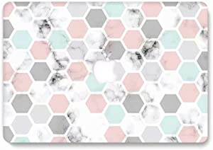 MacBook Air 13 Inch Case A1932 A2179 A2337M1 (2018-2020 Release), AQYLQ Matte Plastic Hard Shell Cover for Apple MacBook Air 13 Inch with Retina Display fits Touch ID, DL-60 Hexagon Marble
