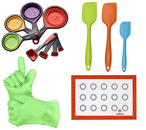 WELLAND Baking Set, Baking Mat & Measuring Cups Spoons Set & Cooking Gloves & Spatula Turner Set (Measuring Spatulas)