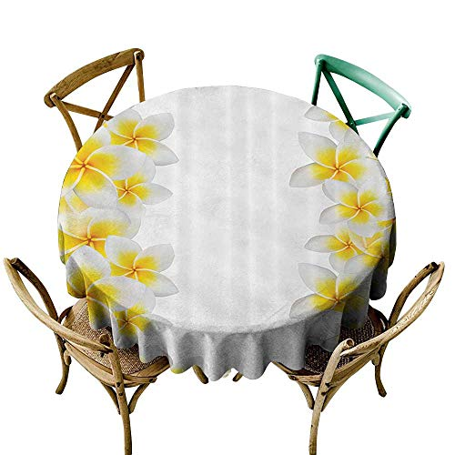 Mannwarehouse Hawaiian Decorations Collection Fitted Tablecloth Frangipani Blossom Exotic Nature Garden Plumeria Flower Frame Relaxation Image Easy Care D47 Yellow - Yellow Tinkerbell Frame