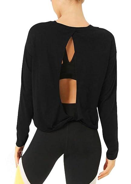 2da7dc404498fc Bestisun Long Sleeve Tie Back Workout Clothes Open Back Yoga Cute Shirts  Dancing Running Casual Wear
