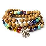 Jewelry,8MM Wood Jasper Healing Stone 108 Buddhist Prayer Mala Beads Buddha 7 Chakra Bracelet Necklace