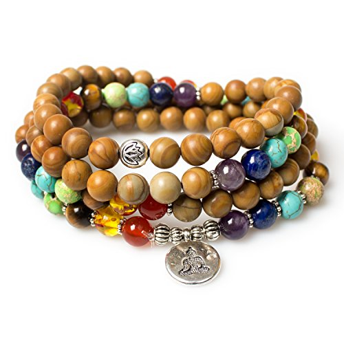 Mala Beads,Buddha Pendant 7 Chakra Tibetan Buddhist Prayer Beads Wood Jasper Healing Gemstone Necklace Bracelet(Wood Jasper,Buddha)