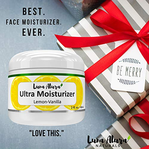 5112wD2VpuL - Luna Alura Face Moisturizer 2 OZ - Natural & Organic Moisturizer for Face, Anti Aging Face Cream, Anti Wrinkle Cream for Women, Lemon Vanilla Scent