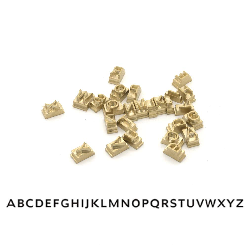 Multi-Function Digital Foil Hot Stamping Logo Embossing Brass Alphabets Label Bronzing Machine Brass Leather Wood Stamp Embosser Tool Set (Capital Letters (A~Z), Humanst970 BT)