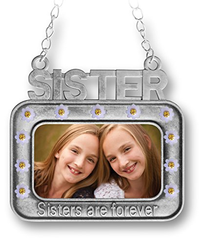 Sister Ornament - Sisters are Forever Embossed on Front - Christmas Photo Ornament for Sisters Tree Shaped Pewter Ornament