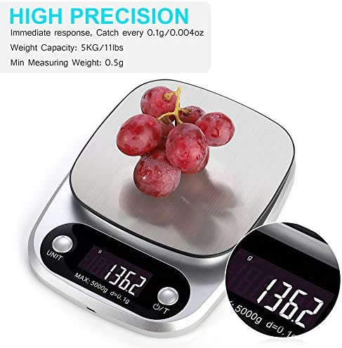 LIUHUI Bilancia da Cucina Digitale Mini LCD, Bilancia per Carne Multifunzione per Alimenti ad Alta precisione con Display LCD retroilluminato, per ingredienti secchi e Iiquidi