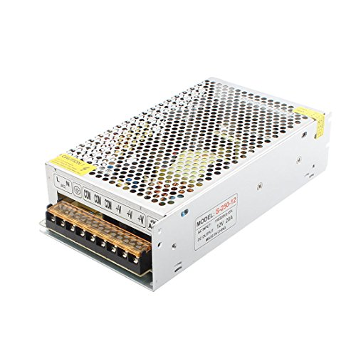 uxcell AC 110/220V DC 12V 20A 240W Double Output Switch Power Supply Driver for LED Strip Light