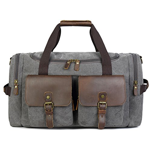 Holdall Overnight Weekend Bag Leather Travel Duffel Canvas Carry On Luggage  (Grey). by BLUBOON c4d9bdaa4d100