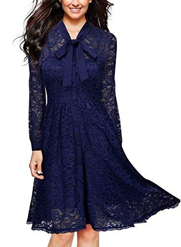 MissMay Vintage Elegant Long Sleeve Lace Overlay Cocktail Swing Dress