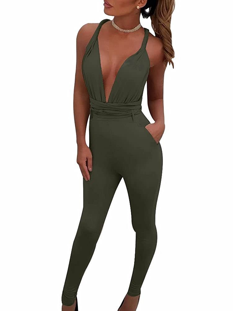 fb15a1e90bae Amazon.com  BEAGIMEG Women s Sexy Backless Criss Cross Bandage Bodycon Club  Romper Jumpsuit  Clothing