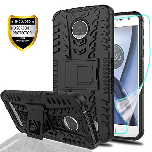 YmhxcY Moto Z Play Droid Phone Case with HD Screen Protector,Military Armor Drop Tested [Heavy Duty] Hybrid Case with Kickstand for Motorola Moto Z Play 2016-LT-Black-1