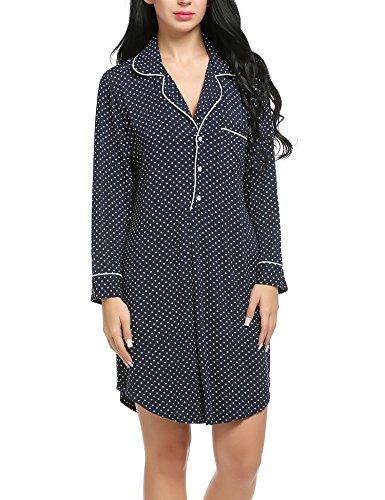 Ekouaer Plus Size Lingerie Woman Long Sleepshirts PJ Top Night Wear Gown,Navy Polka Dot,XX-Large