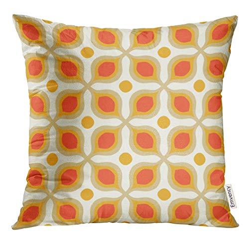 UPOOS Throw Pillow Cover Colorful Retro with Bold Geometric Shapes in 1970S Style for Summer Fall Decals 1960S Decorative Pillow Case Home Decor Square 16x16 Inches Pillowcase (Shape Decal Polyester)