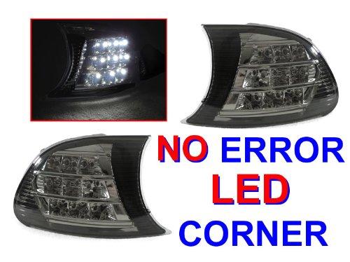 A Pair of Depo Smoke Lense Chrome Housing Corner Signal Light with White LED - BMW 3-Series E46 M3 2DR (Screw-On Type Corner) 2002-2006