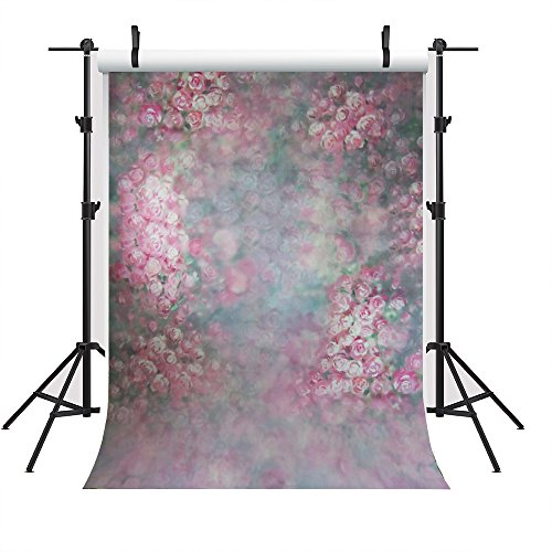 5x7ft Wedding Photography Backdrop Flowers Photo Booth Background 1950's Vintage Pink Flowers Wedding Backdrop ()