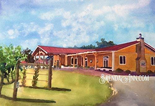 (Willow Creek Winery - Vineyard in Cape May NJ - Fine Art Wall Art Artwork Watercolor Print by Brenda Ann - NJ Farms - New Jersey Wedding)