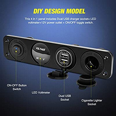 Nilight 4 in 1 ON/OFF Charger Socket Panel Dual USB Socket Power Outlet & LED Voltmeter &Cigarette Lighter Socket& LED Lighted ON Off Rocker Toggle Switch for Truck Car Marine Boats RV,2 Yeas Warranty: Automotive