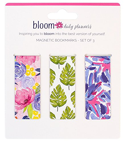 bloom daily planners 3-Pack Magnetic Bookmarks - Mini Snap-in Page Marker Clips for Planners, Books, Journals - 2.5