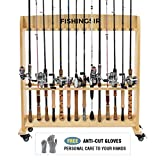used fishing rods - FISHINGSIR Wood Fishing Rod Rack with Wheels - 28 Rod Holder Stand Rolling Fishing Rod Racks Storage