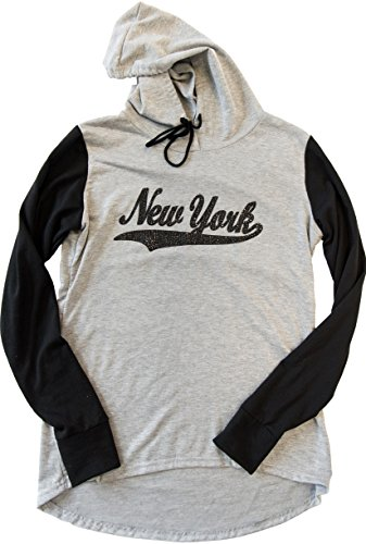 - Sweet Gisele New York Womens Hoodie Glitter & Rhinestone Grey, Blue & Pink