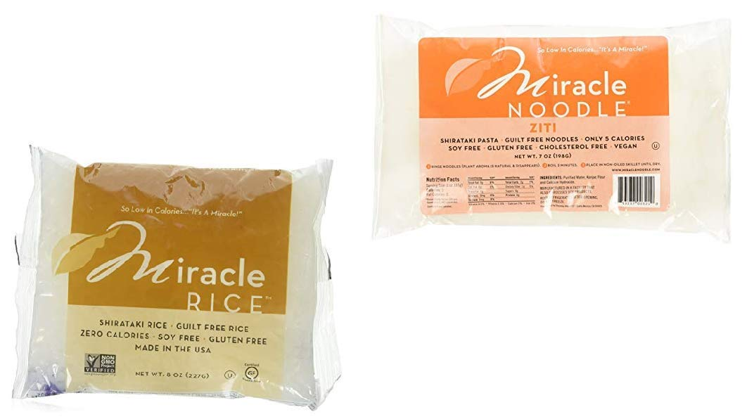 Miracle Noodle Shirataki Ziti (3), Rice (3) Variety Pack, Gluten-Free, Zero Carb, Keto, Vegan, Soy Free, Paleo, Blood Sugar Friendly, 7oz - 6 Total