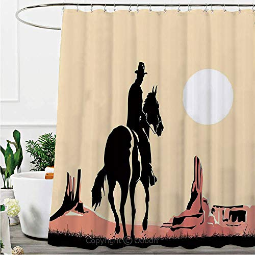 (Shower Curtains, Art of Cowboy Riding Horse Towards Sunset in Wild West Desert Hero Decorative, Fabric Bathroom Decor Set with Hooks, 72 x 72 Inches)