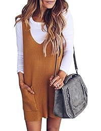 Womens Racerback Tank Sweater Dresses Fall Ribbed Knit...
