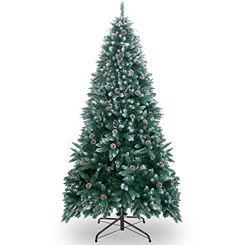 Merax 7.5Feet Premium Spruce Hinged Artificial Christmas Tree with Pine Cone