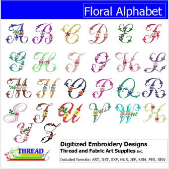 (Threadart Machine Embroidery Designs - Floral Alphabet CD - USB Stick)