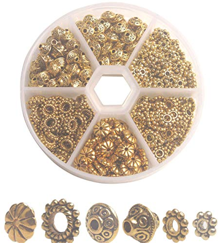 Bali Spacer Daisy Beads Style - ChangJin ONE Box of 300PCS Antiqued Gold Metal Bali Daisy Spacer Beads for Jewelry Making