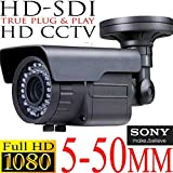 USG Sony DSP HD-SDI High Definition 1080P 2.4MP CCTV Bullet Security Camera 5-50mm Vari-Focal HD Lens 72x IR LEDs For 200 Feet Night Vision IR-Cut, WDR, Motion Detection, DNR Top Grade Housing