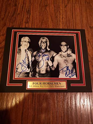 (WWE WCW FOUR 4 HORSEMEN RIC FLAIR TULLY BLANCHARD JJ DILLON AUTOGRAPH 8X10 PHOTO)