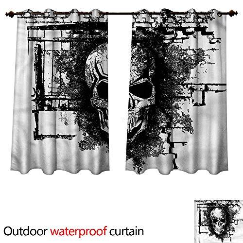 cobeDecor Tattoo Outdoor Balcony Privacy Curtain Furious Skull on Brick Wall W72 x L72(183cm x 183cm)