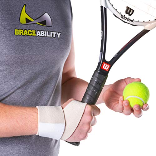 BraceAbility Athletic Wrist Wrap | Yoga, Golf, Tennis & Gymnastics Exercise Support Guard for Working Out, Crossfit, Pilates, TRX, Sports Pain Protection Brace (Universal - Fits Right and Left Hand)