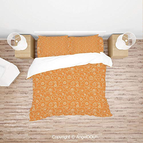 PUTIEN Durable Cotton Bedding Set (1 Duvet Covers+2 Pillowcases 1 Sheet),Pattern with Pumpkin Leaves and Swirls on Orange Backdrop Halloween Inspired,with Hidden Zipper Closure.]()