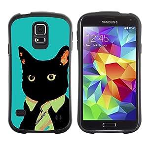 Suave TPU Caso Carcasa de Caucho Funda para Samsung Galaxy S5 SM-G900 / Business Tie Cat / STRONG