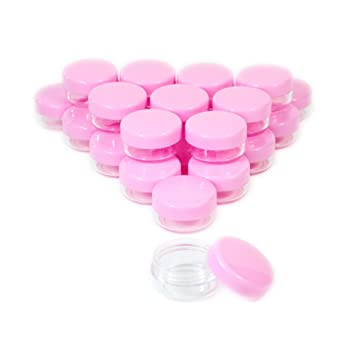c032d7b2295a 10 Gram Plastic Cosmetic Containers with Lids Pink Makeup Sample Jars BPA  free 20pcs