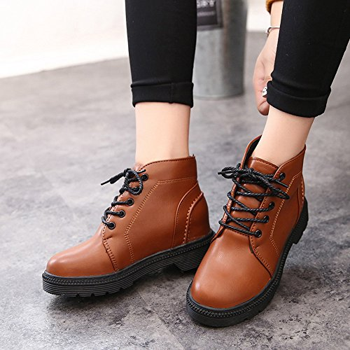 Invernale Outdoor Natale Stringate Sportive Da Lace Platform Donna Scarpe Shoes Low Heels Oyedens Sneakers Stivali up Corsa Marrone Ankle Ginnastica Boots wgxtvq