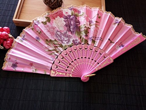 Pink 1Pcs Plastic Rib Hand Fan Good Gift For Wedding Flower Dance Fan With Lace