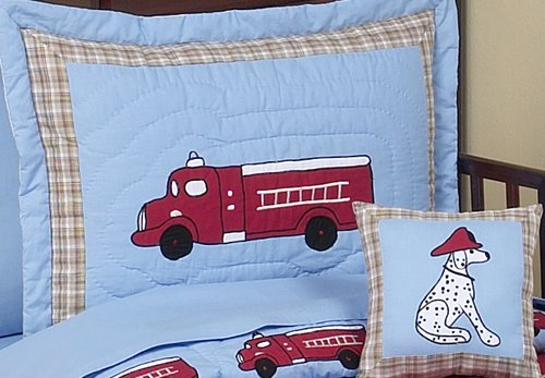 Frankie's Fire Truck Toddler Bedding 5 pc set by Sweet Jojo Designs