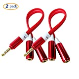 Conwork (2 Pack) 3.5mm Headphone / Headset Splitter Cable Adapter 4 Conductor New Design For iPhone, iPad, itouch (Red)