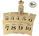 OYAMIHUI 1 to 10 Burlap Wine Bags Blind Tasting, Wine Bags Wedding Table Numbers, Wine Tasting Bags, Set of 10