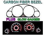 01-02 HONDA CIVIC MANUAL W/ TACH CARBON FIBER BEZEL + RED GLOW GAUGE FACE OVERLAY