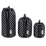 FlexARMOR Protective Neoprene Lens Case Pouch Set 3-Pack (Polka Dot) by USA Gear - Small, Medium and Large Cases Hold Lenses up to 70-300mm with Drawstring Opening, Attached Clip, Reinforced Belt Loop