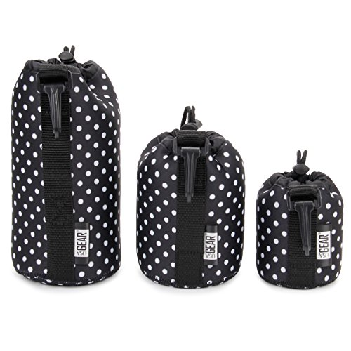 USA Gear FlexARMOR Protective Neoprene Lens Case Pouch Set 3-Pack (Polka Dot) Small, Medium Large Cases Hold Lenses up to 70-300mm Drawstring Opening, Attached Clip, Reinforced Belt Loop