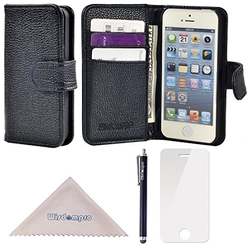 Wisdompro Premium PU Leather 2-in-1 Protective [Folio Flip] Wallet Case with Multiple Credit Card Holder Slots for Apple iPhone SE/5s/5 (Black W/O Lanyard) ()