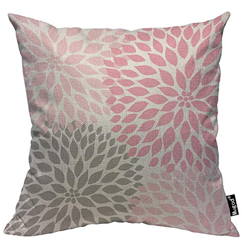 Mugod Dahlia Flower Throw Pillow Case Abstract Elegant Floral Petal Pink Grey and White Decorative Cotton Linen Square Cushion Covers Standard Pillowcase Couch Sofa Bed Men/Women 18x18 Inch