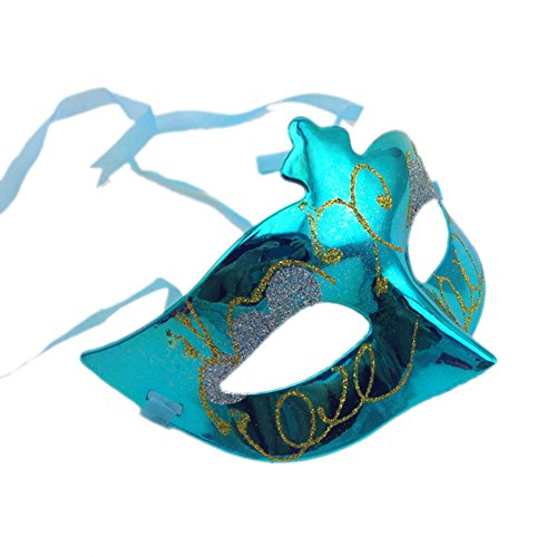 Kerocy Party Mask Halloween Half Bulk plated wedding props masquerade mardi gras mask (Color Change Mardi Gras Mask)